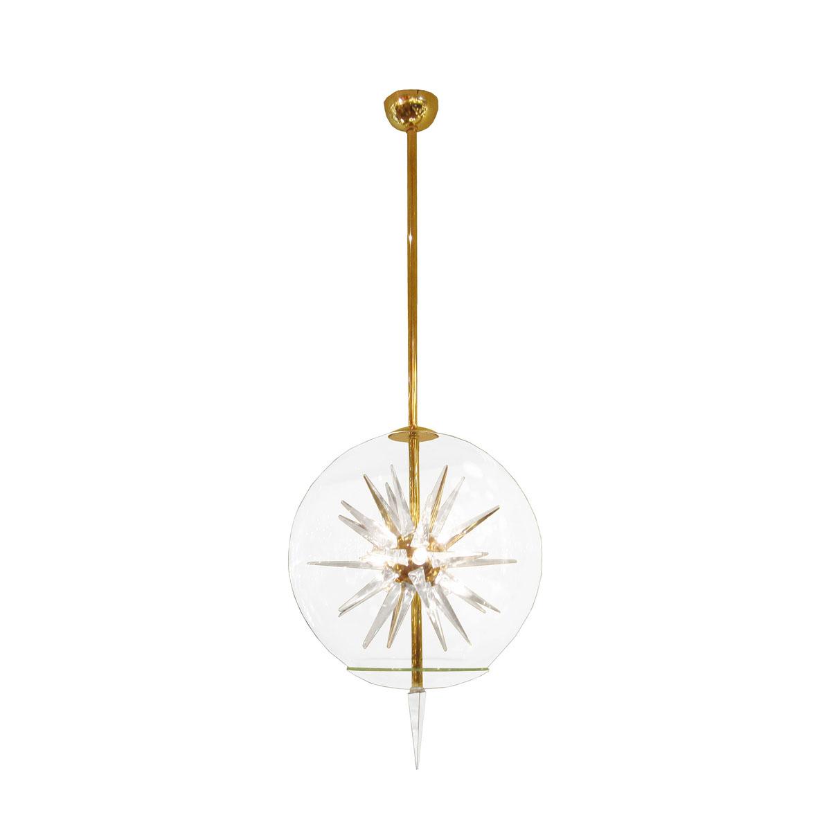 Spherical glass pendant with internal starburst prism
