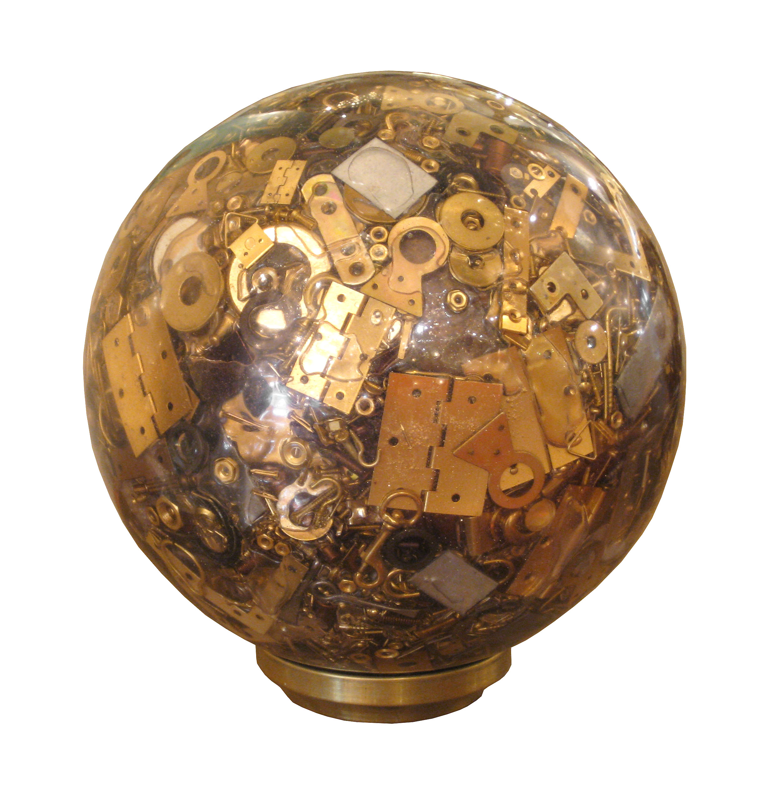 Clear Resin Sphere Containing Miscellaneous Vintage