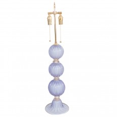 Single lavender fluted glass ball table lamp