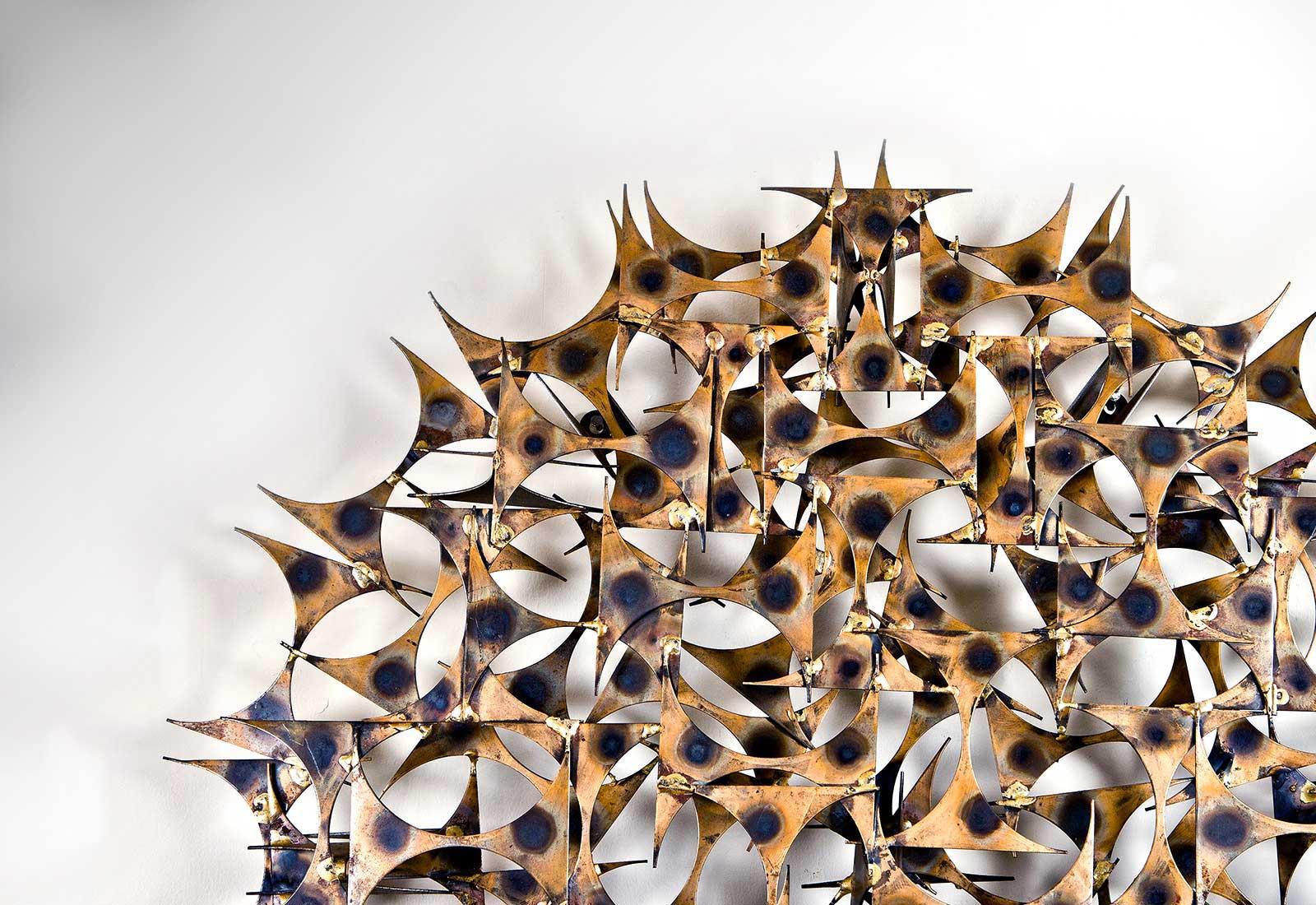 Brass Starburst Pendant Ceiling Fixture By Emil Stejnar