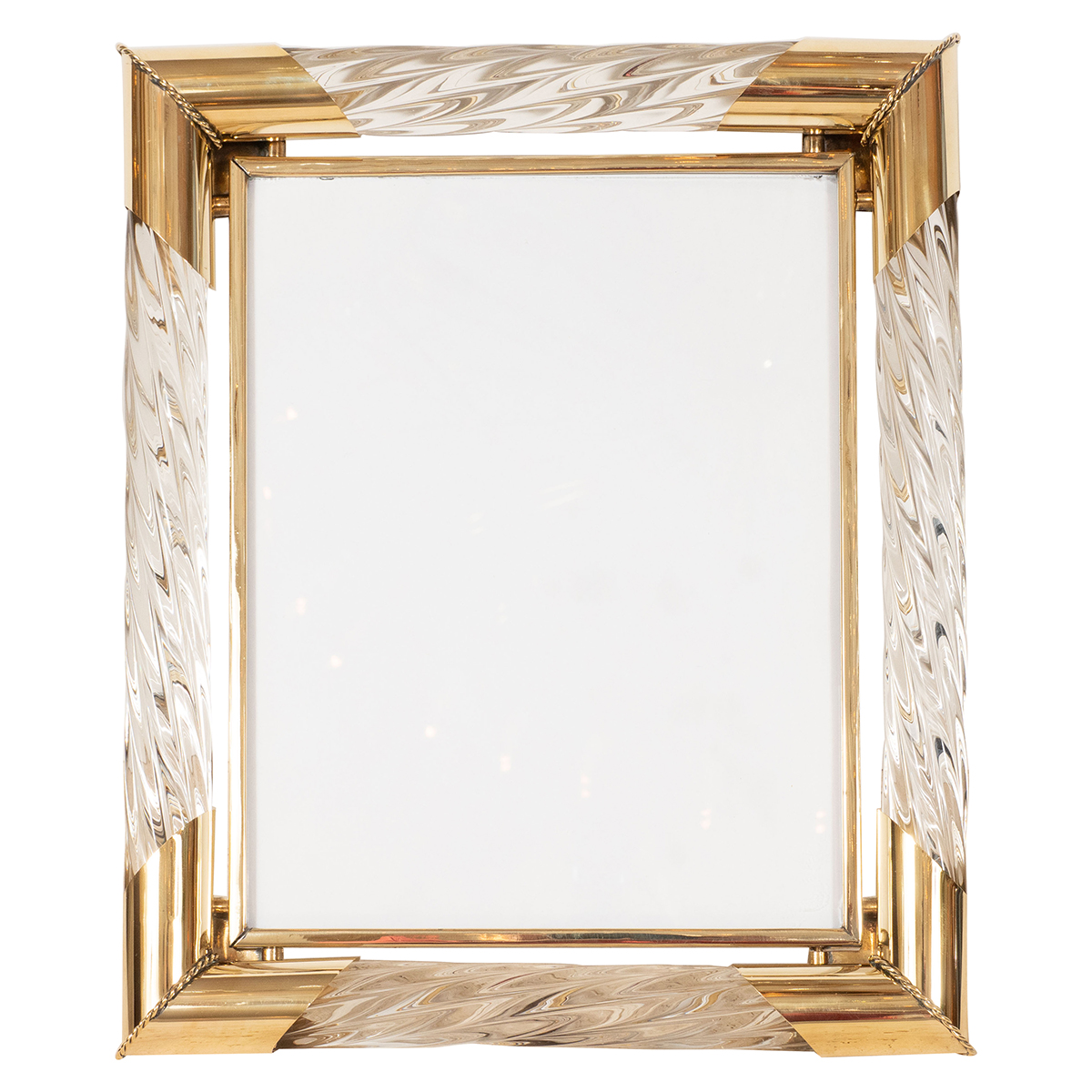 Brass and fluted Murano glass picture frame | Picture Frames | John ...