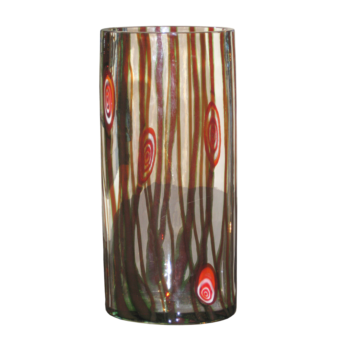 Clear Murano Glass Vase With Brown Striped Patterning By