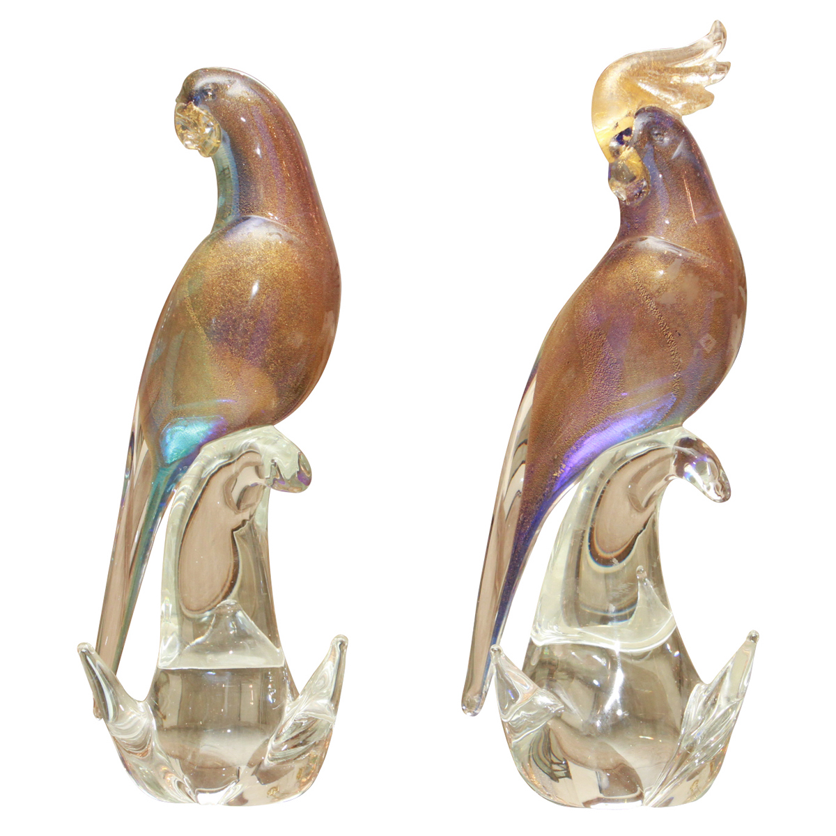 Pair Of Opalescent Murano Glass Bird Sculptures