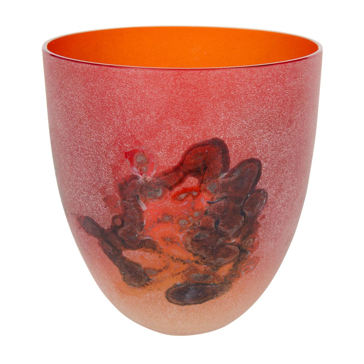 Flame orange encaustic murano glass vase vases john for Orange vase