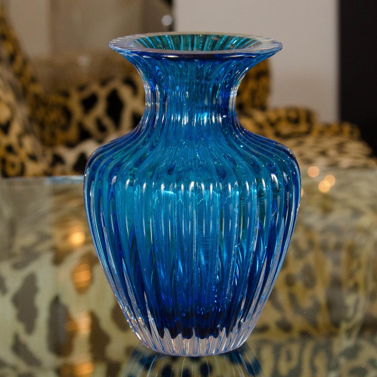 Turquoise Murano Glass Vase Vases John Salibello