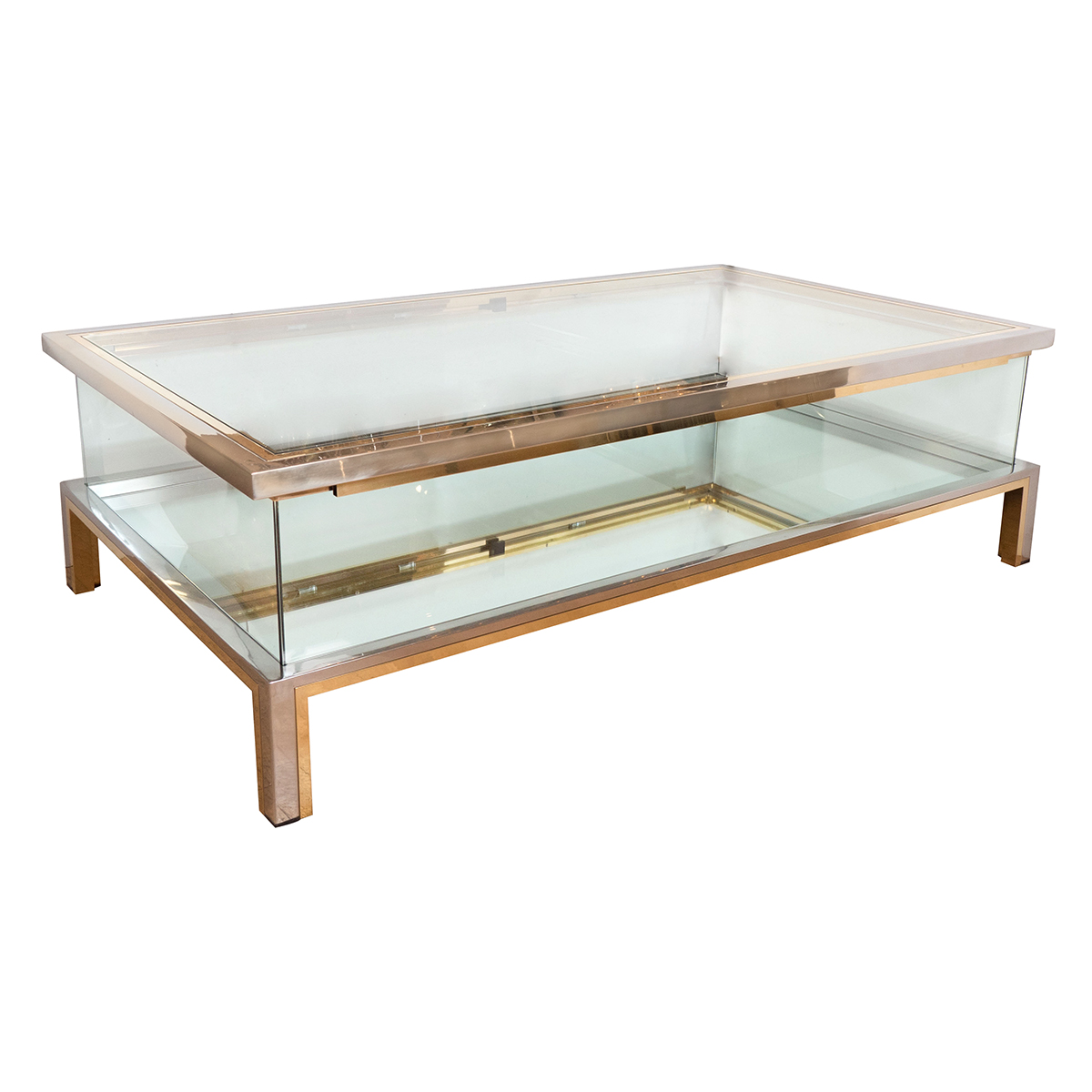 Rectangular Brass Nickel And Glass Coffee Table Coffee Tables John Salibello