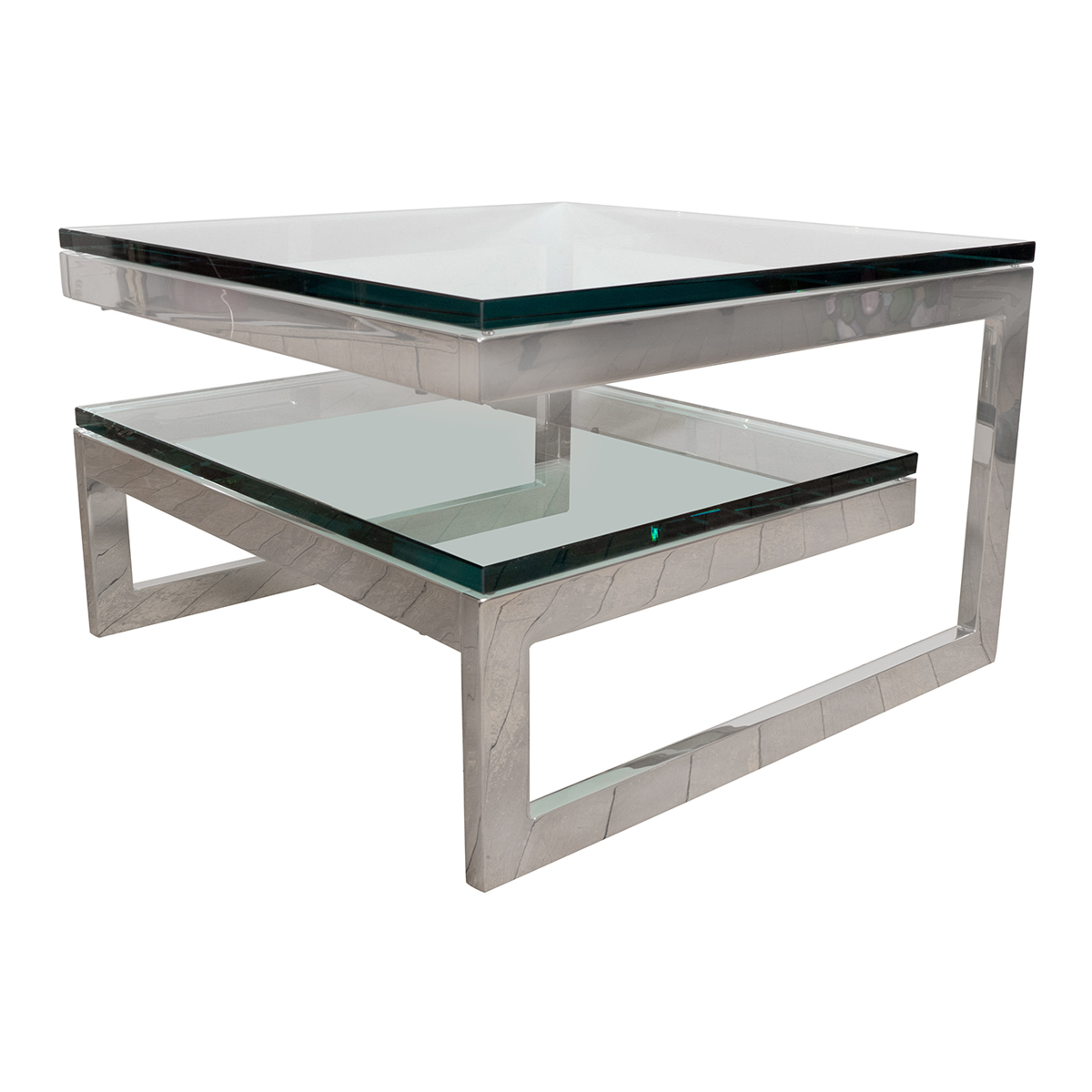 Two Tier Nickel And Glass Interwoven Side Table Side End Tables - Two tier glass side table