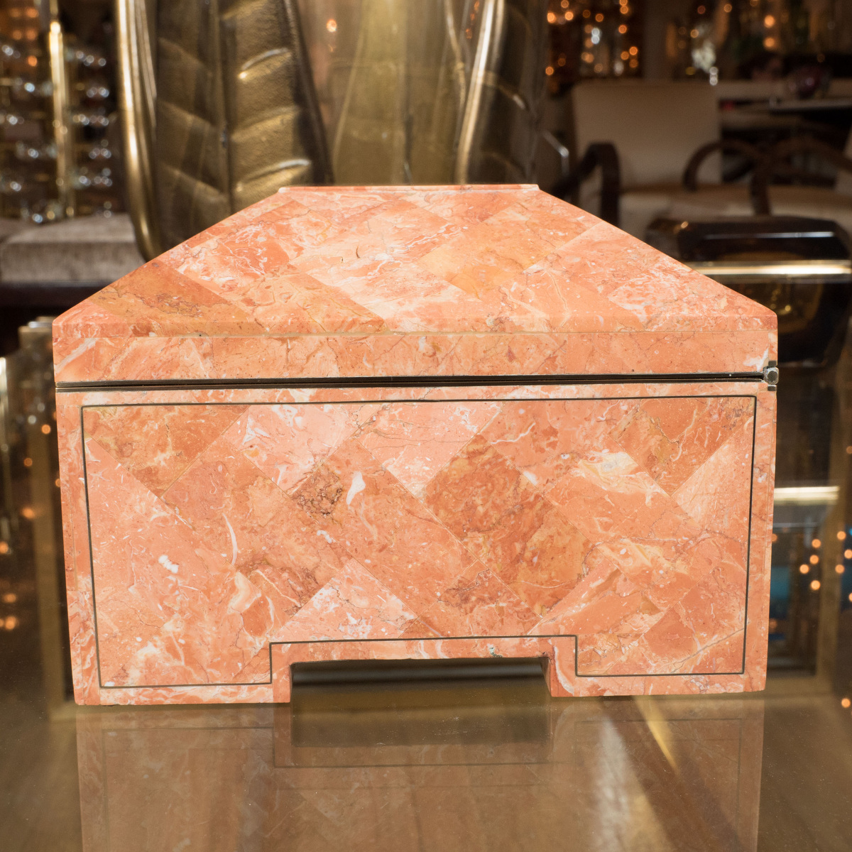 Tessellated Stone Box With Wood Interior Boxes John