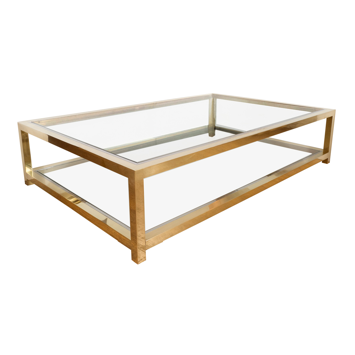 Large Two Tier Brass And Nickel Coffee Table Tables John Salibello