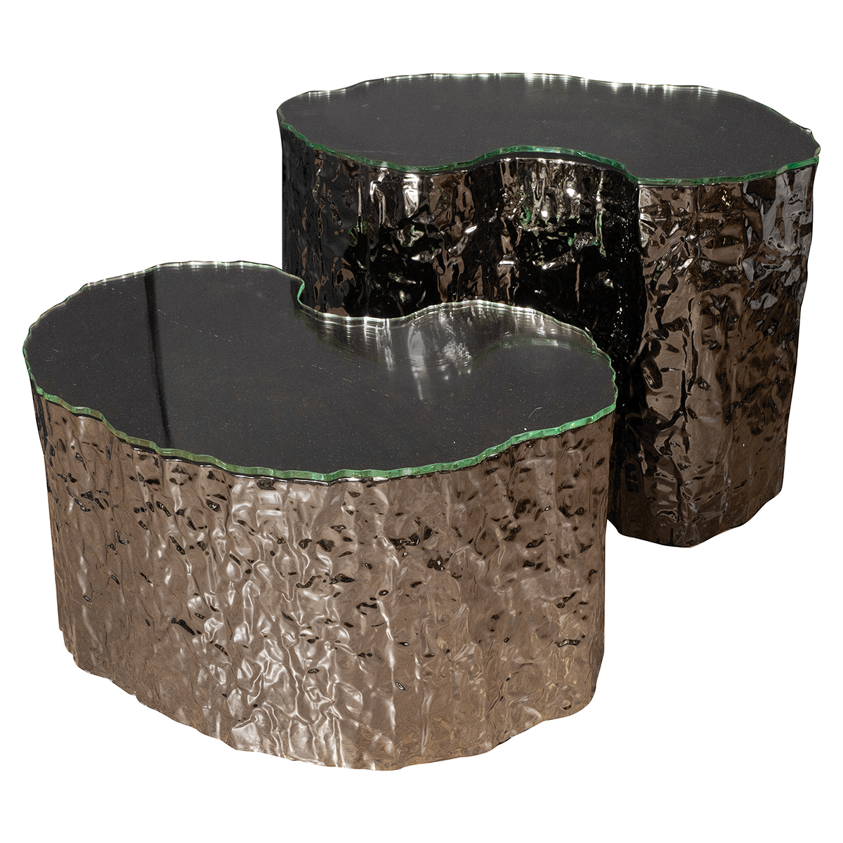 Pair Of Amorphic Hammered Metal Side Tables Side End Tables
