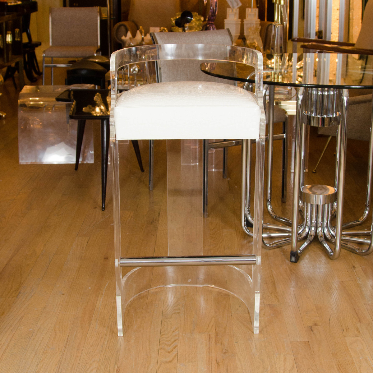 Pair Of Lucite And Chrome Upholstered Bar Stools Stools