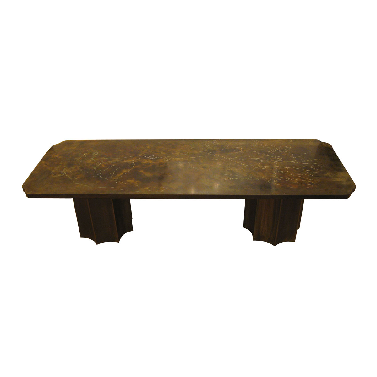 Bronze and pewter etched top coffee table depicting the creation of adam coffee tables john Bronze coffee tables
