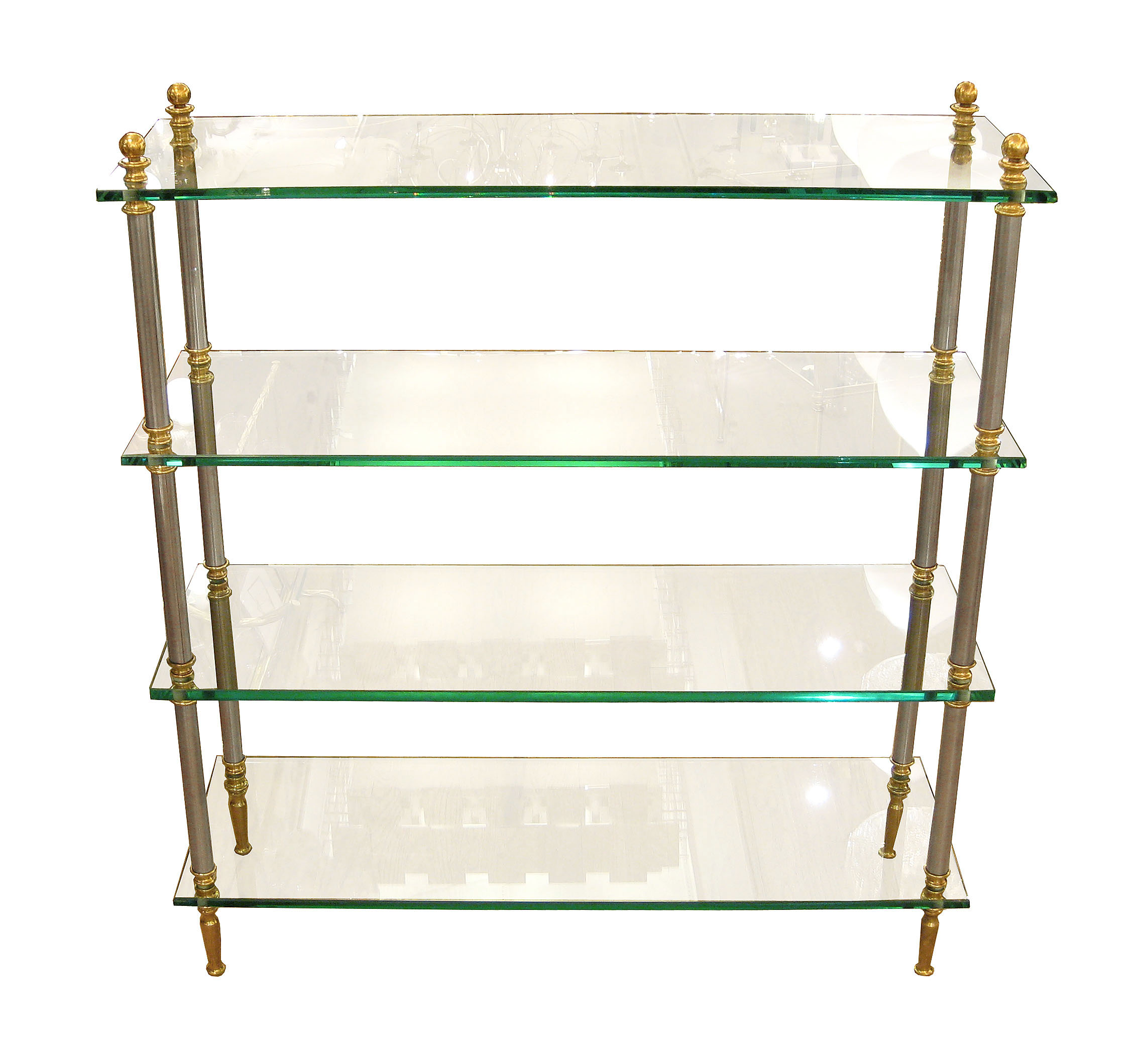 Brass Glass And Nickel Four Shelf Etagere Etageres