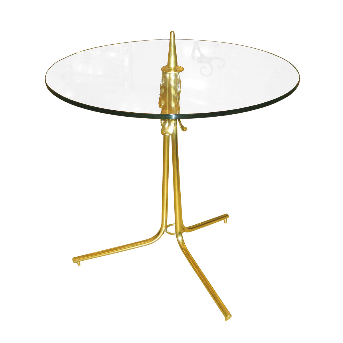 Round Glass Side Table With Decorative Brass Tripod Base. | Side U0026 End  Tables | John Salibello