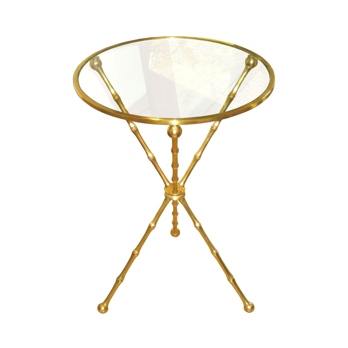 Single brass faux bamboo tripod side table with glass top for Bamboo side table
