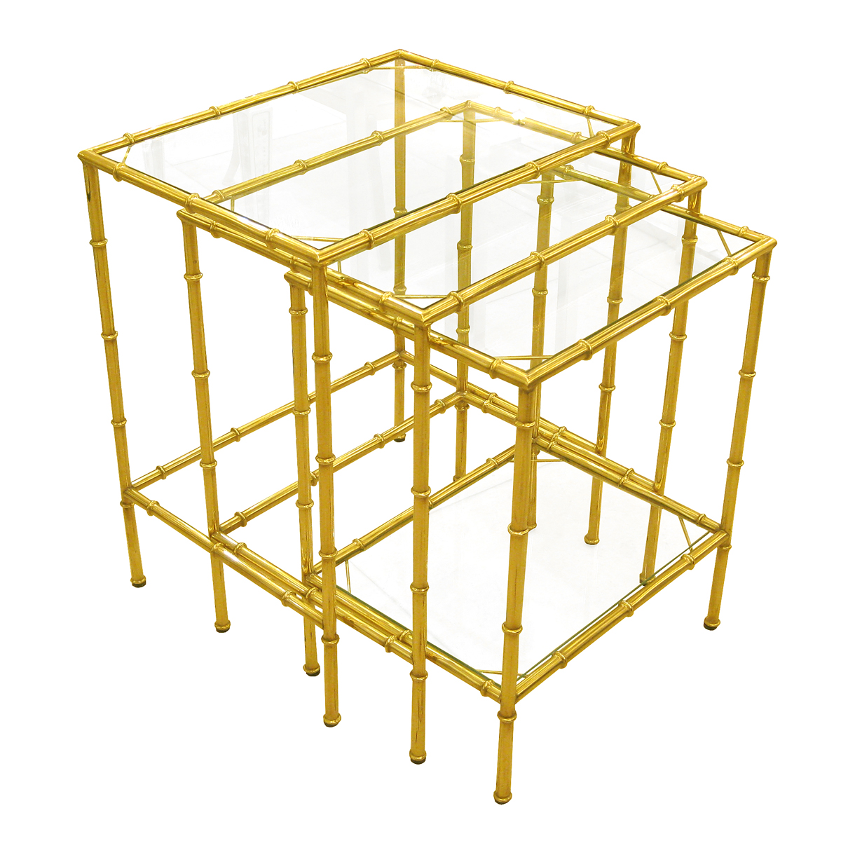 set of three brass faux bamboo nesting tables with glass tops  - set of three brass faux bamboo nesting tables with glass tops  side  endtables  john salibello