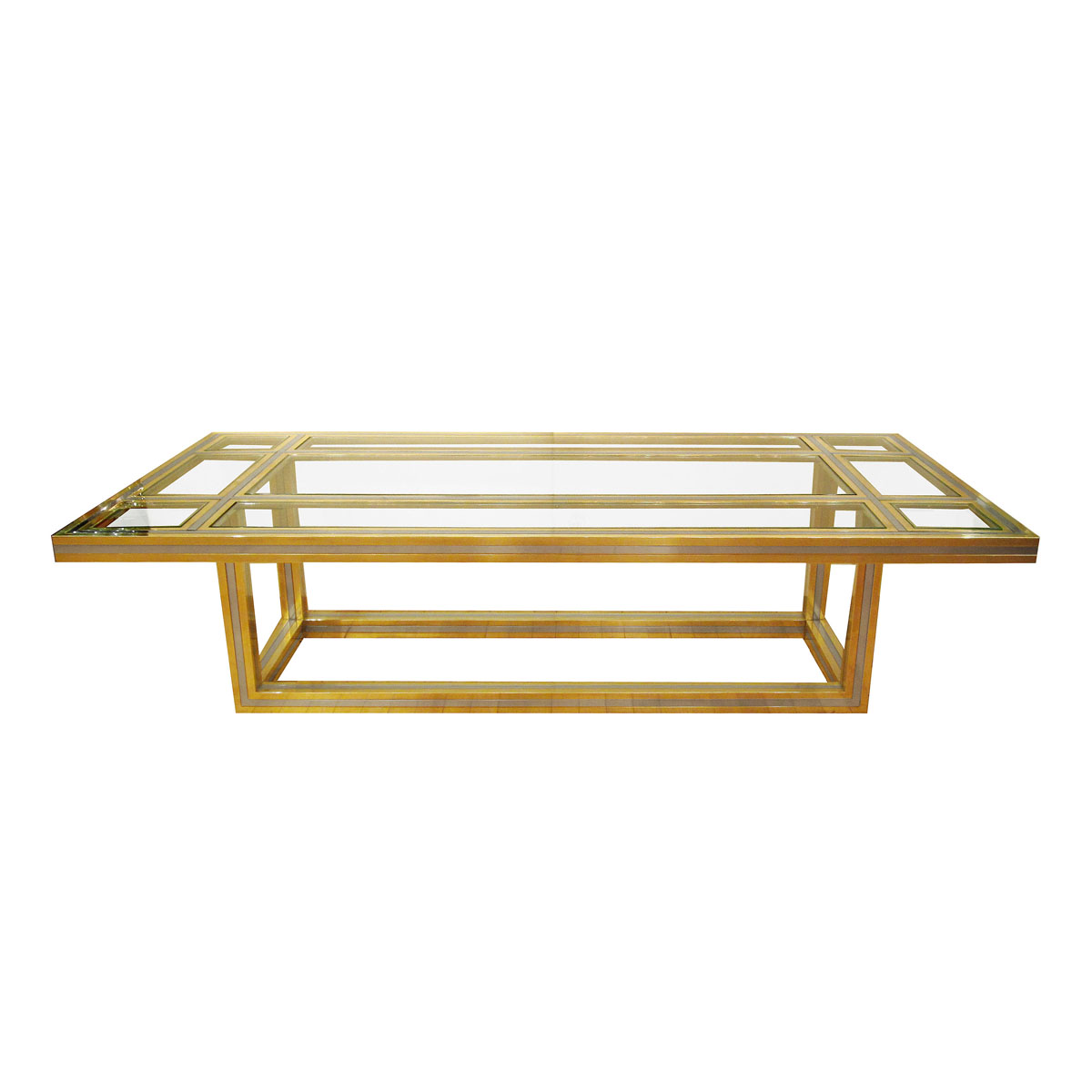 Brass And Stainless Steel Coffee Table With Glass Insets