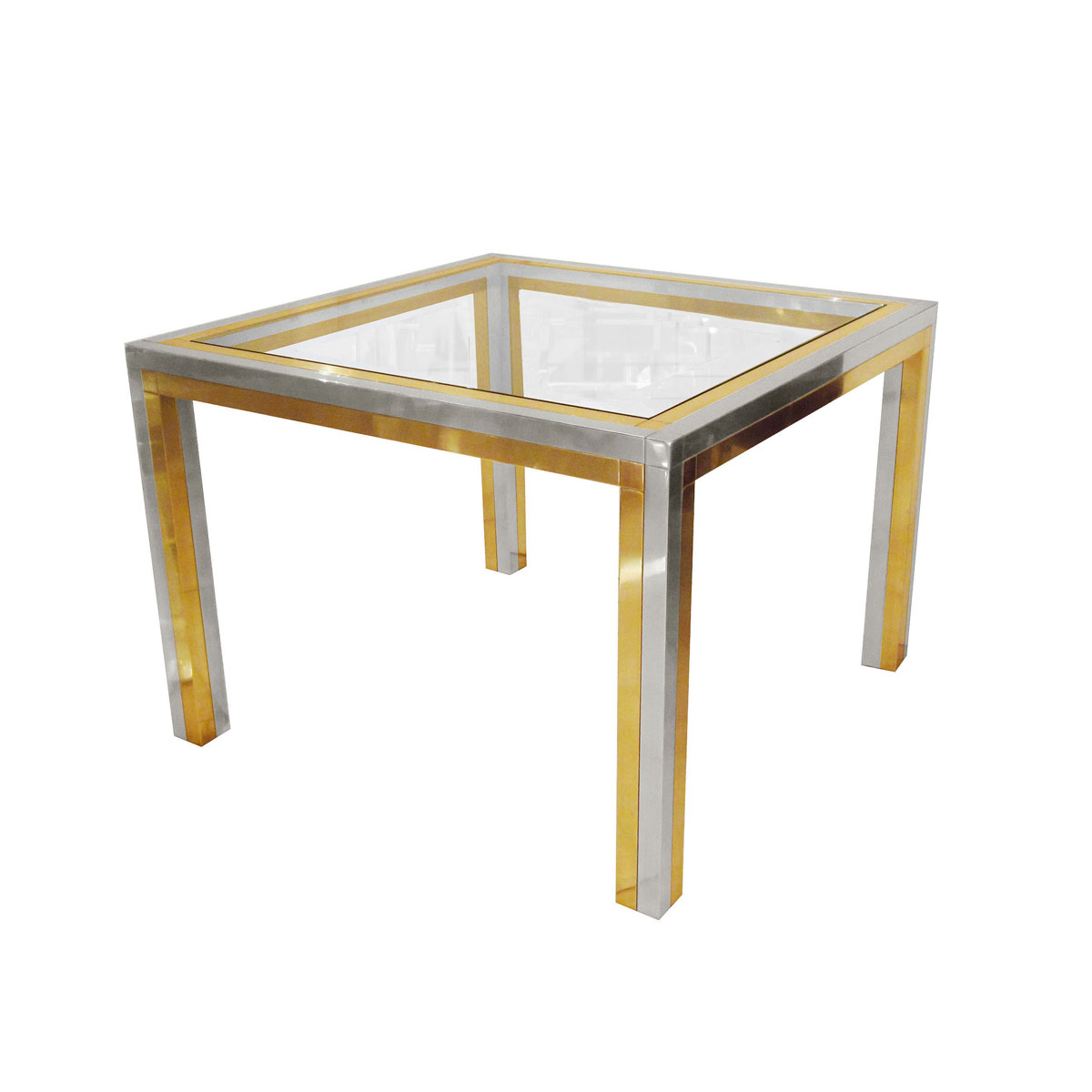 Single Brass And Stainless Steel Side Table Side End