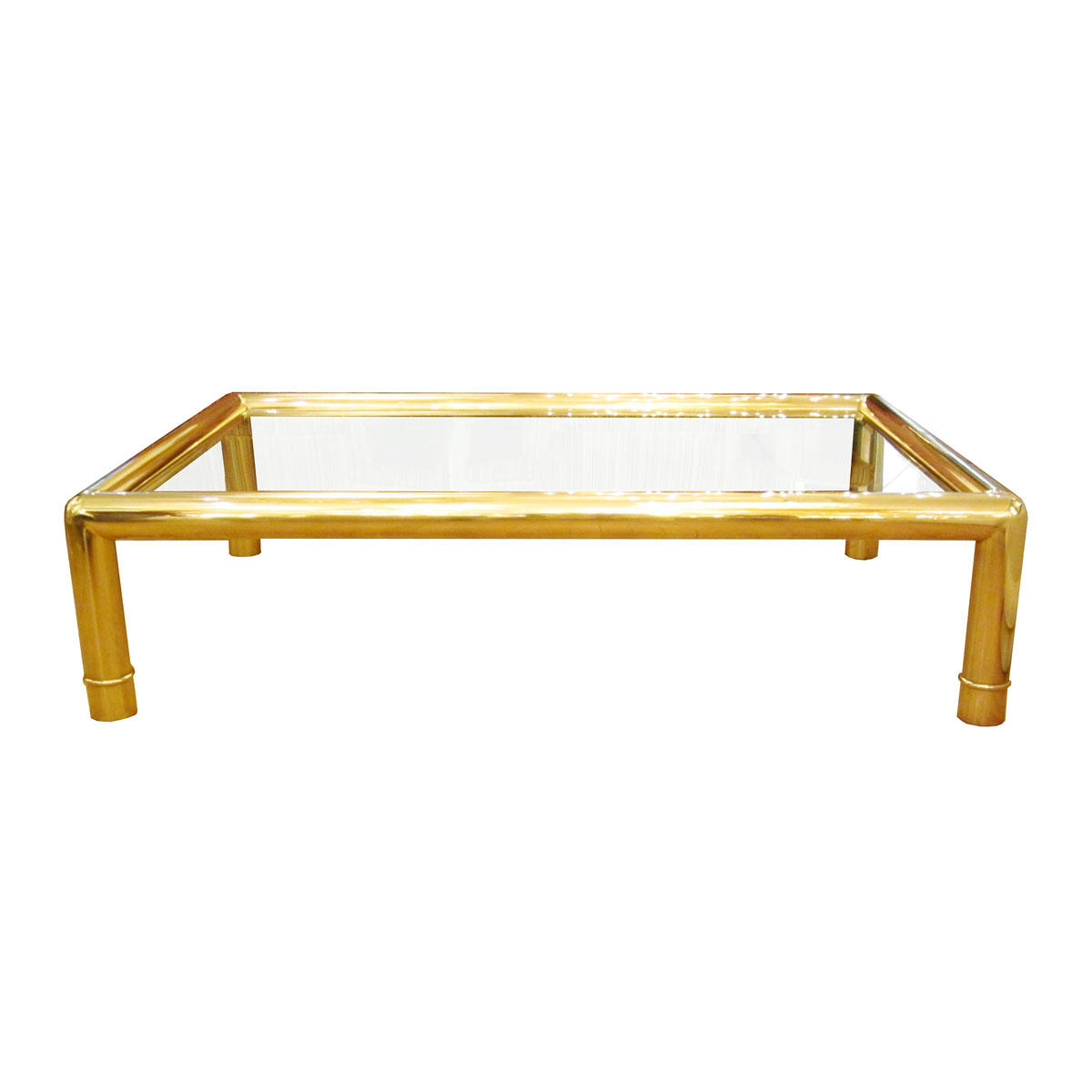 Glass Top Rectangular Coffee Table: Rectangular Coffee Table With Tubular Brass Frame And