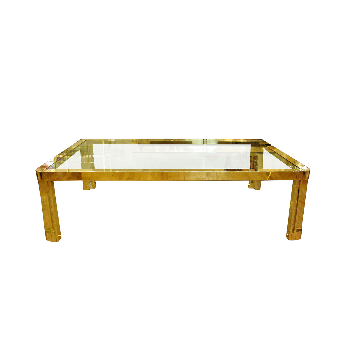 Large Rectangular Brass And Glass Coffee Table With Incised Design
