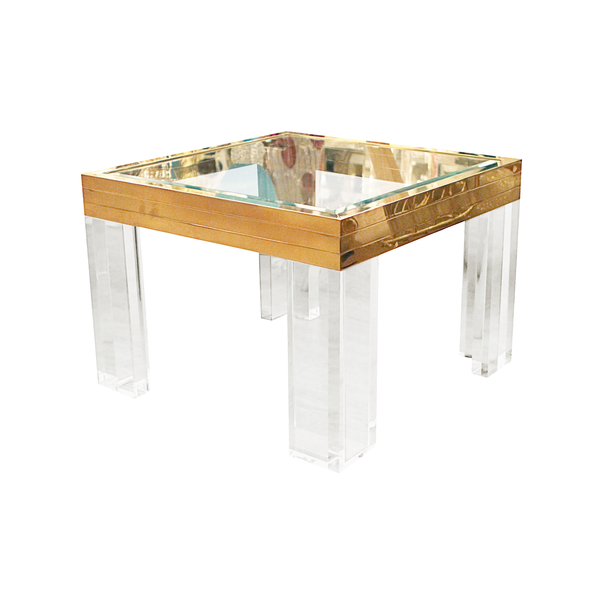 Pair of square brass lucite and glass side tables side for Glass end tables