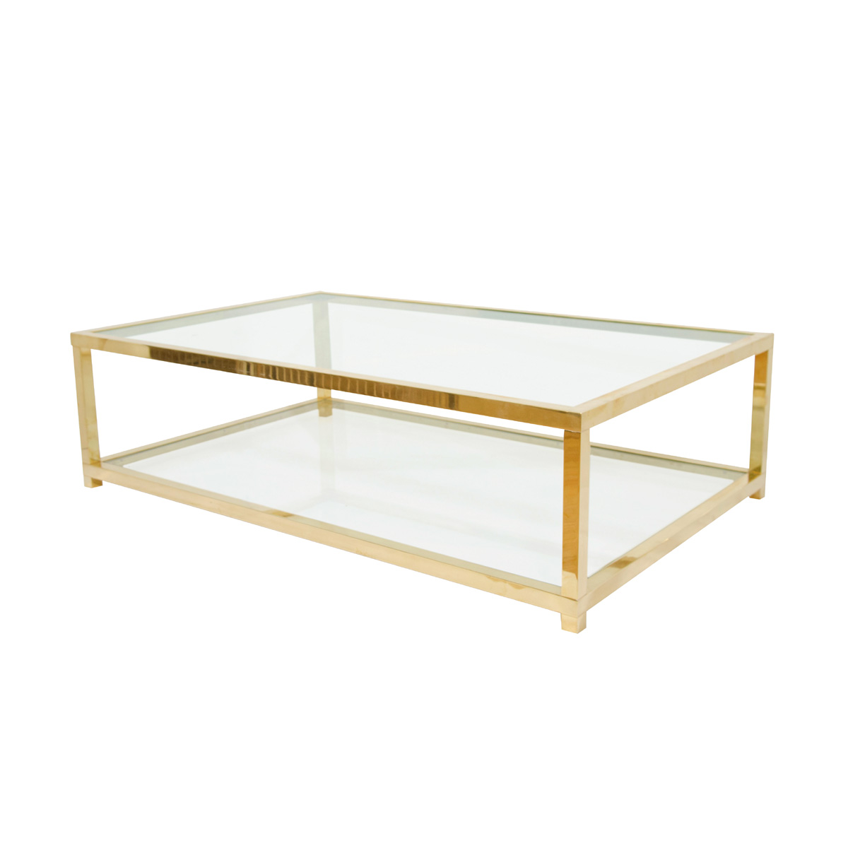 Two Tiered Brass And Glass Coffee Table