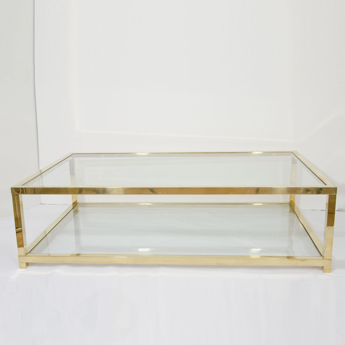 Brass Display Coffee Table: Two-tiered Brass And Glass Coffee Table