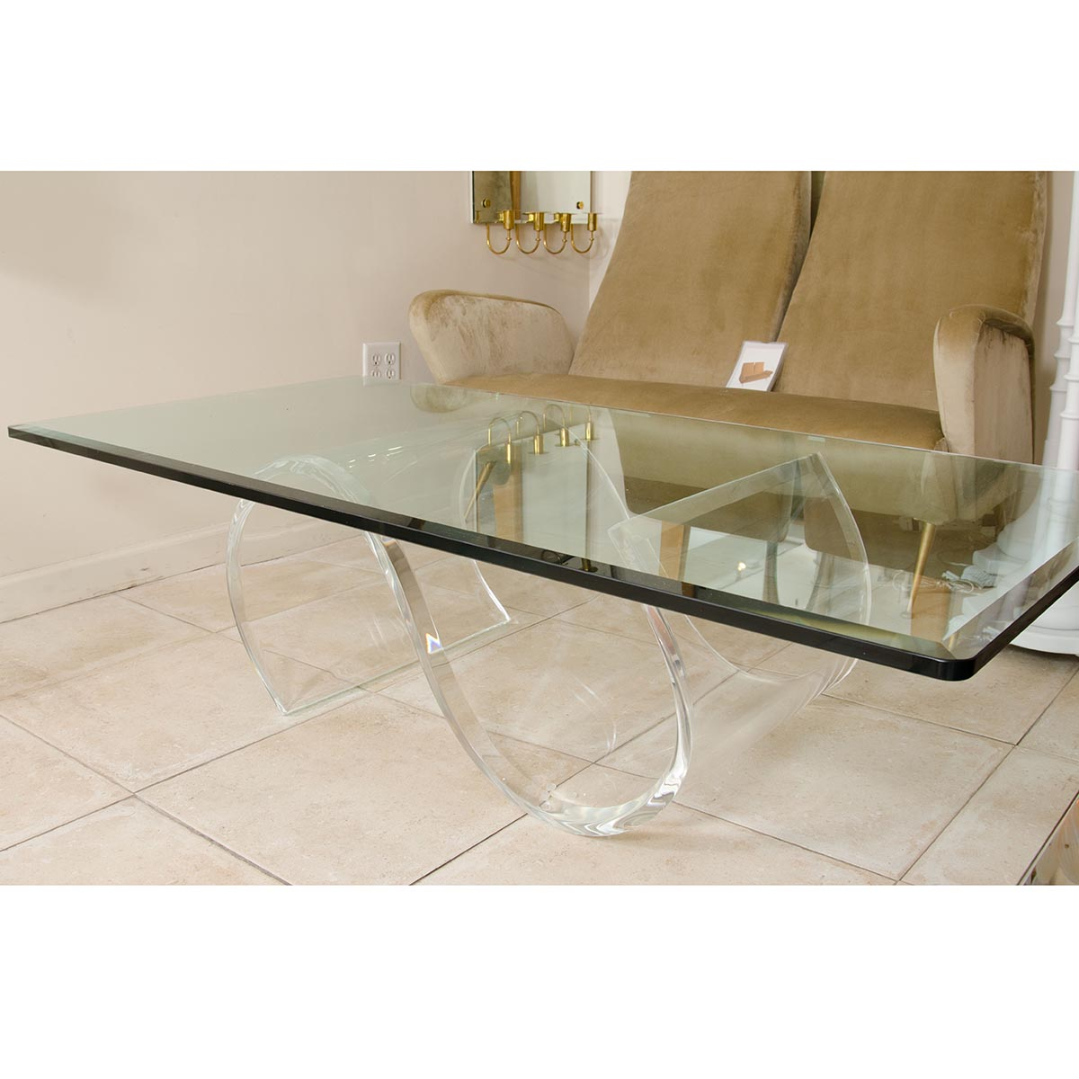 Undulating Lucite Base Coffee Table