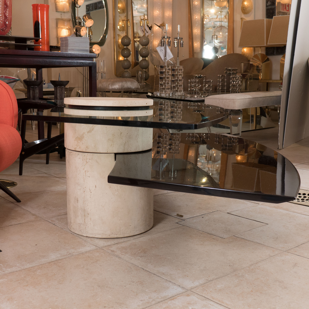 Adjustable Travertine, Wood And Glass Coffee Table