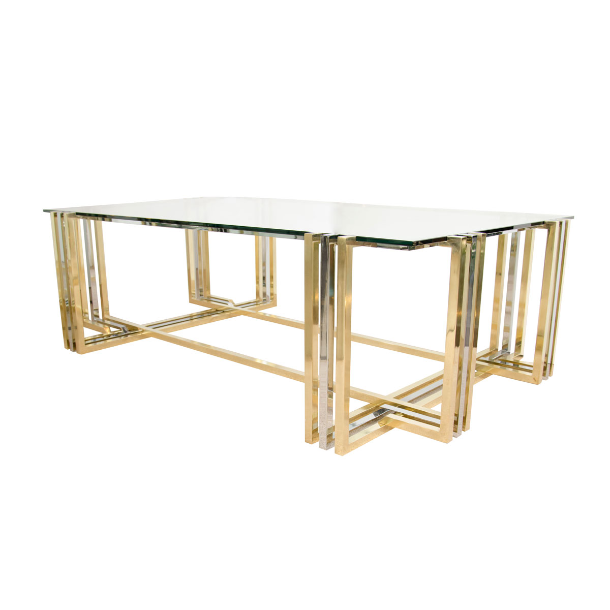 Rectangular Stainless Steel And Brass Coffee Table