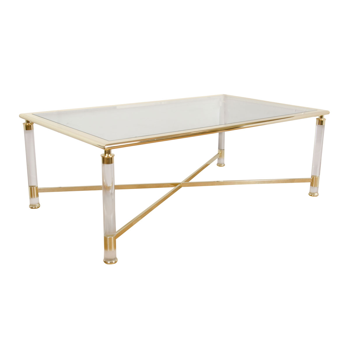 Rectangular brass and glass coffee table coffee tables for Rectangular coffee table with glass top