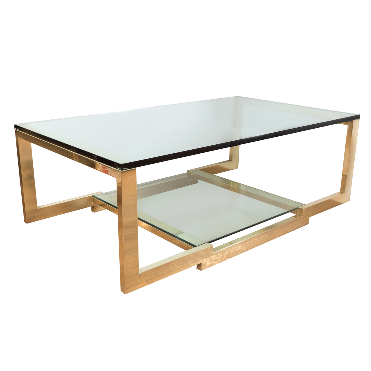 Rectangular Brass And Glass Coffee Table Coffee Tables