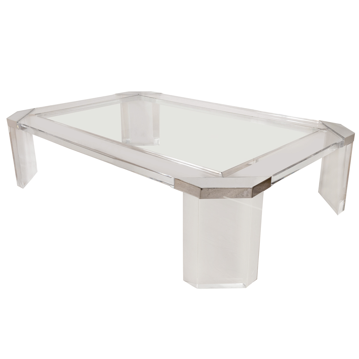 Glass Top Coffee Table From Karl Andersson: Octagonal Lucite And Glass Coffee Table