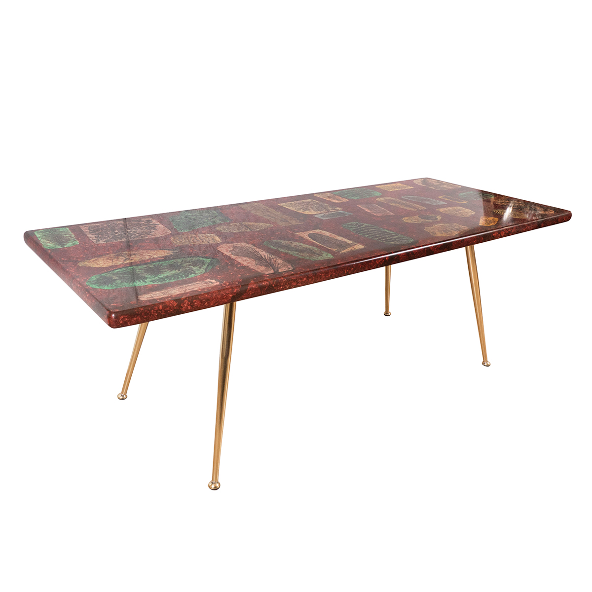 Brass Display Coffee Table: Rectangular Lacquered Wood And Brass Coffee Table