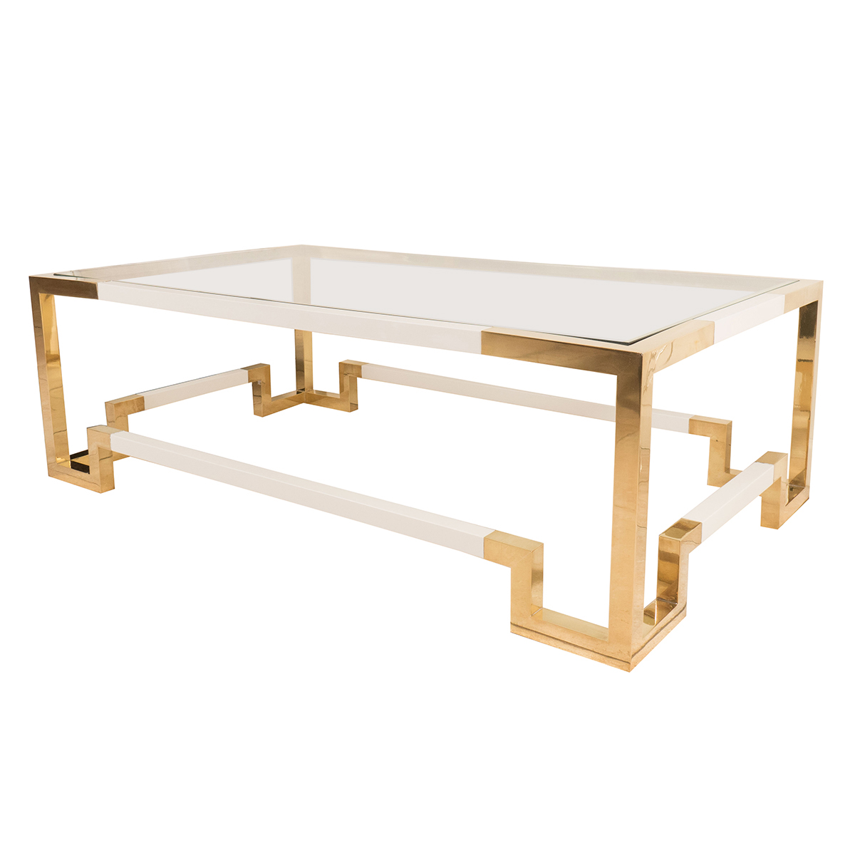 Rectangular Brass And White Enameled Coffee Table Coffee Tables John Salibello