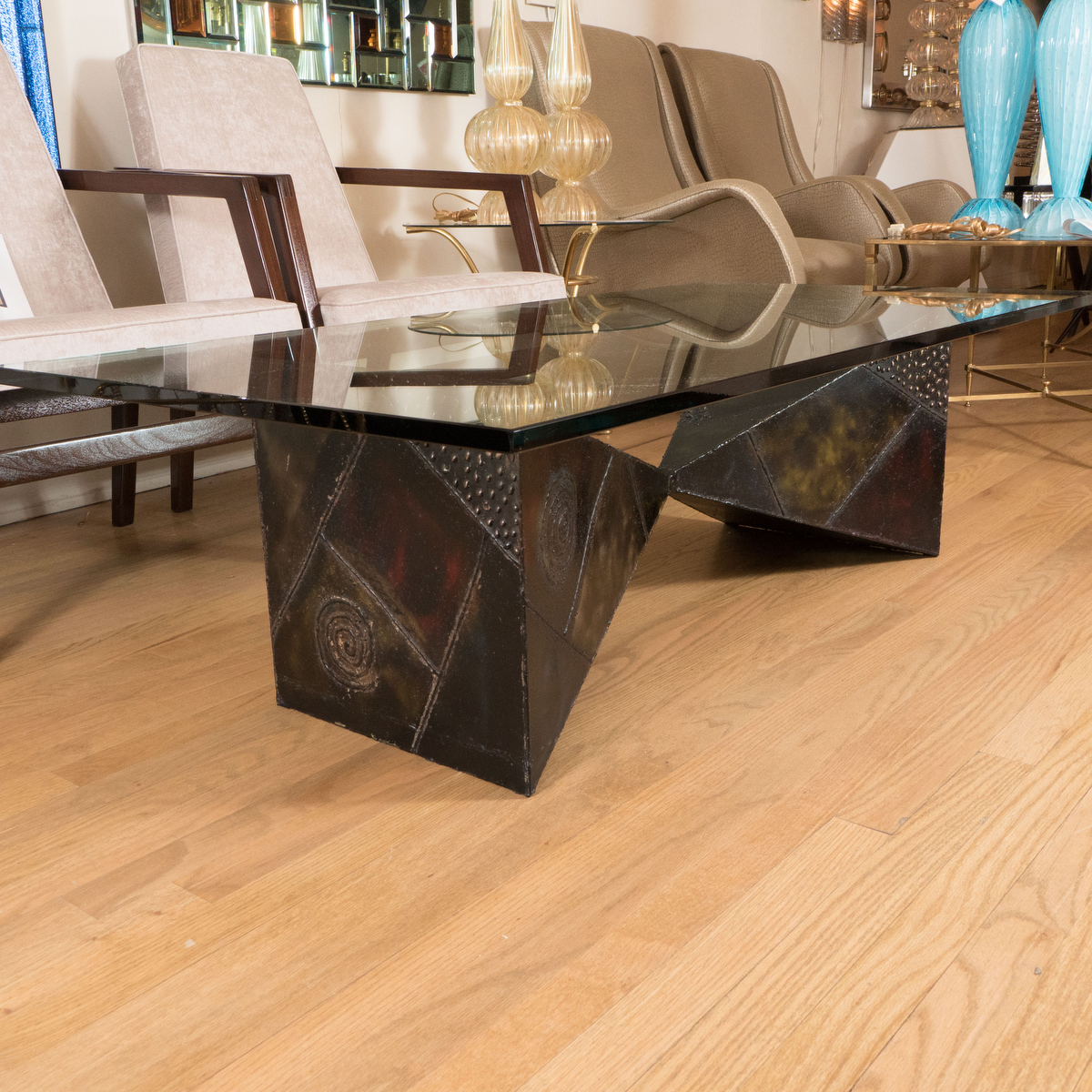 Patinated Steel Pyramid Coffee Table Coffee Tables John Salibello