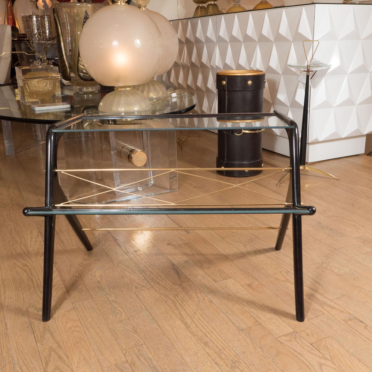 ebonized wood and glass magazine rack side table side end tables john salibello. Black Bedroom Furniture Sets. Home Design Ideas