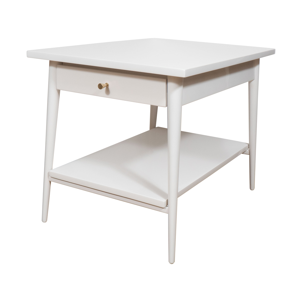 Pair Of White Lacquered Wood Side Tables