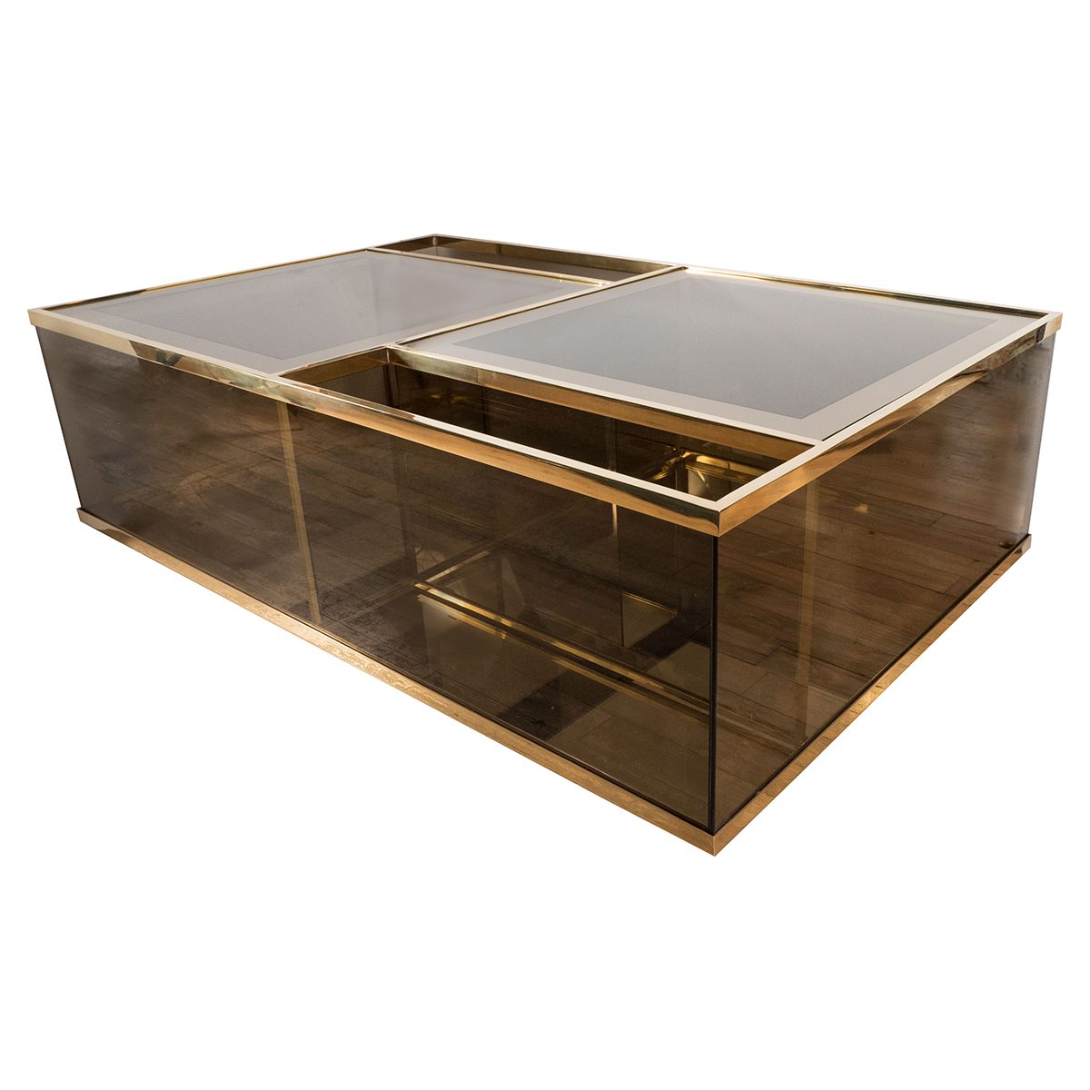 Rectangular Brass And Smoked Glass Coffee Table Coffee Tables John Salibello