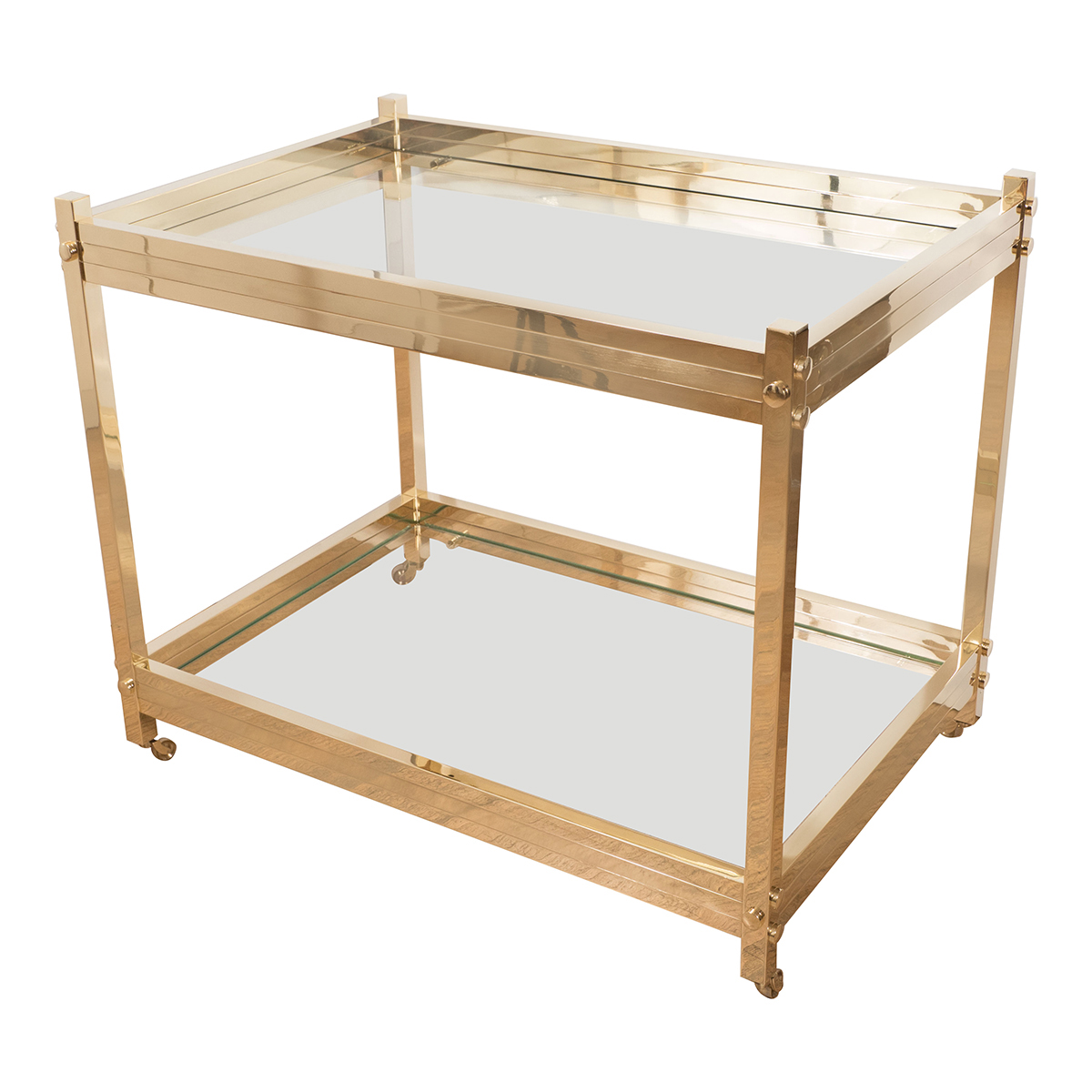 Two Tier Brass And Glass Rolling Bar Cart Serving Carts