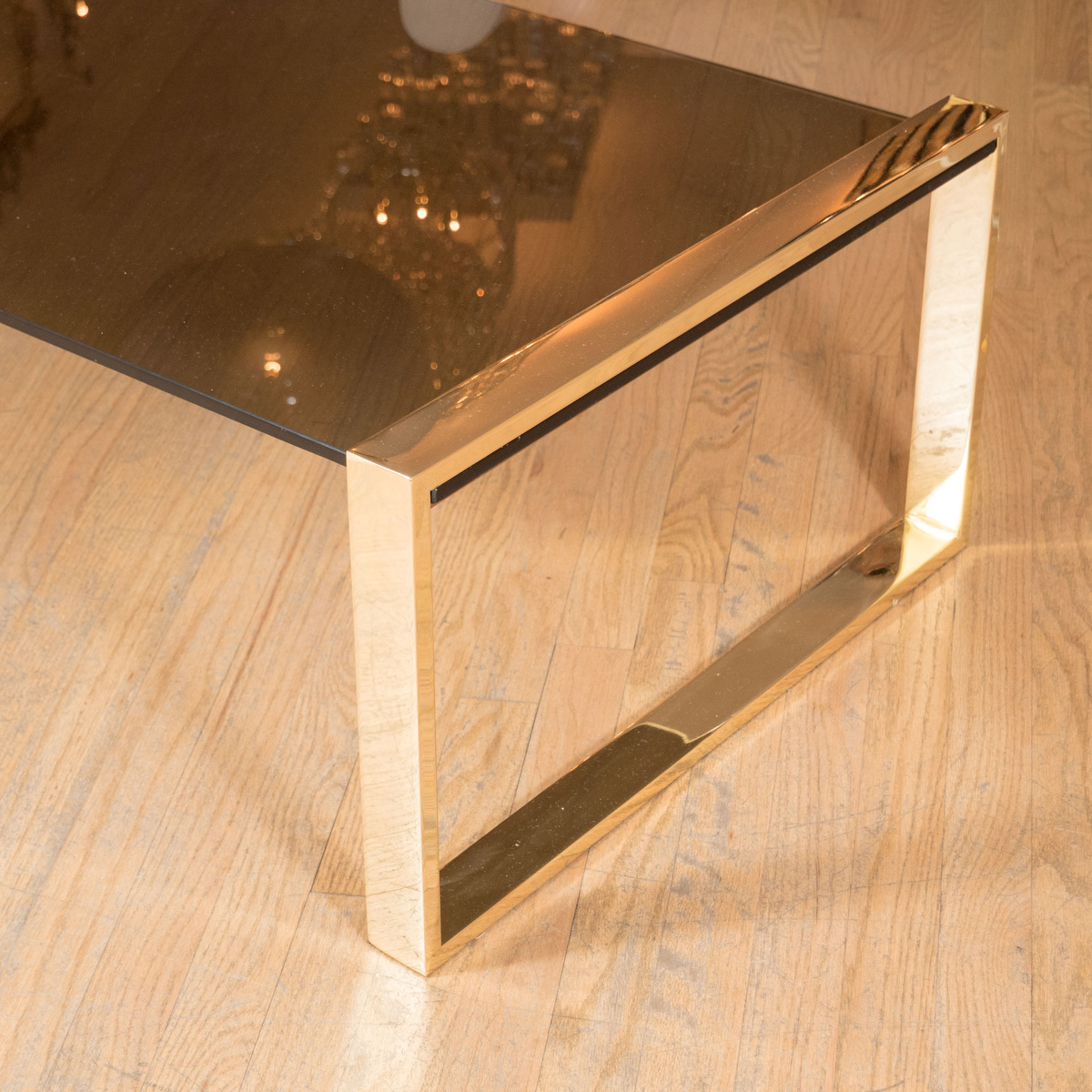 Rectangular Coffee Table With Brass Supports