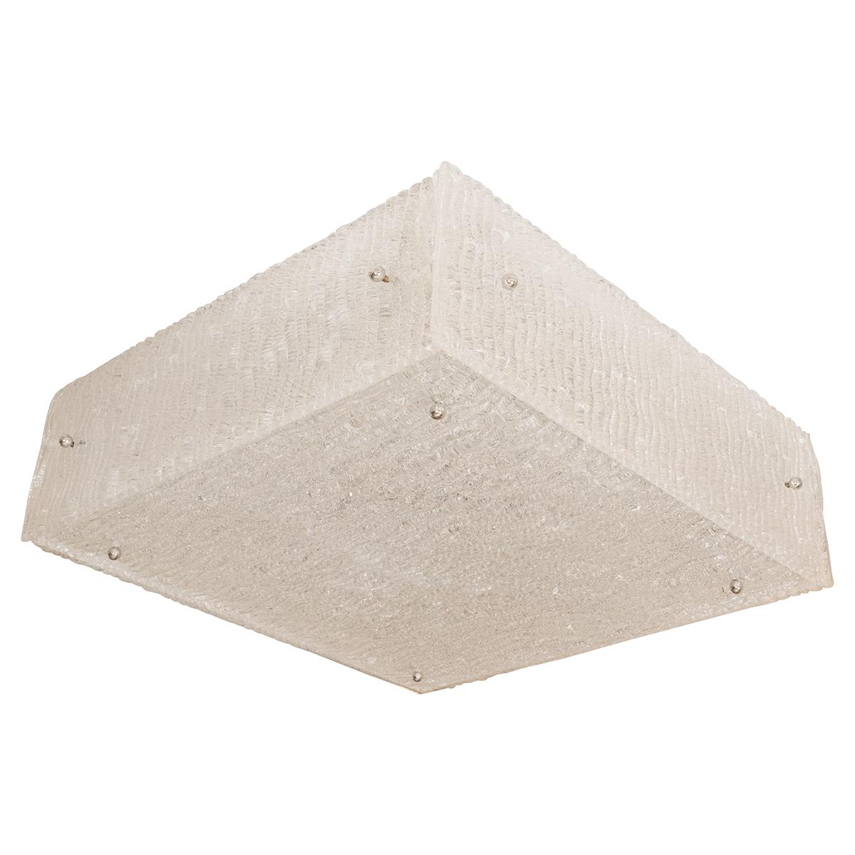 Square Textured Glass Flush Mount Ceiling Fixture