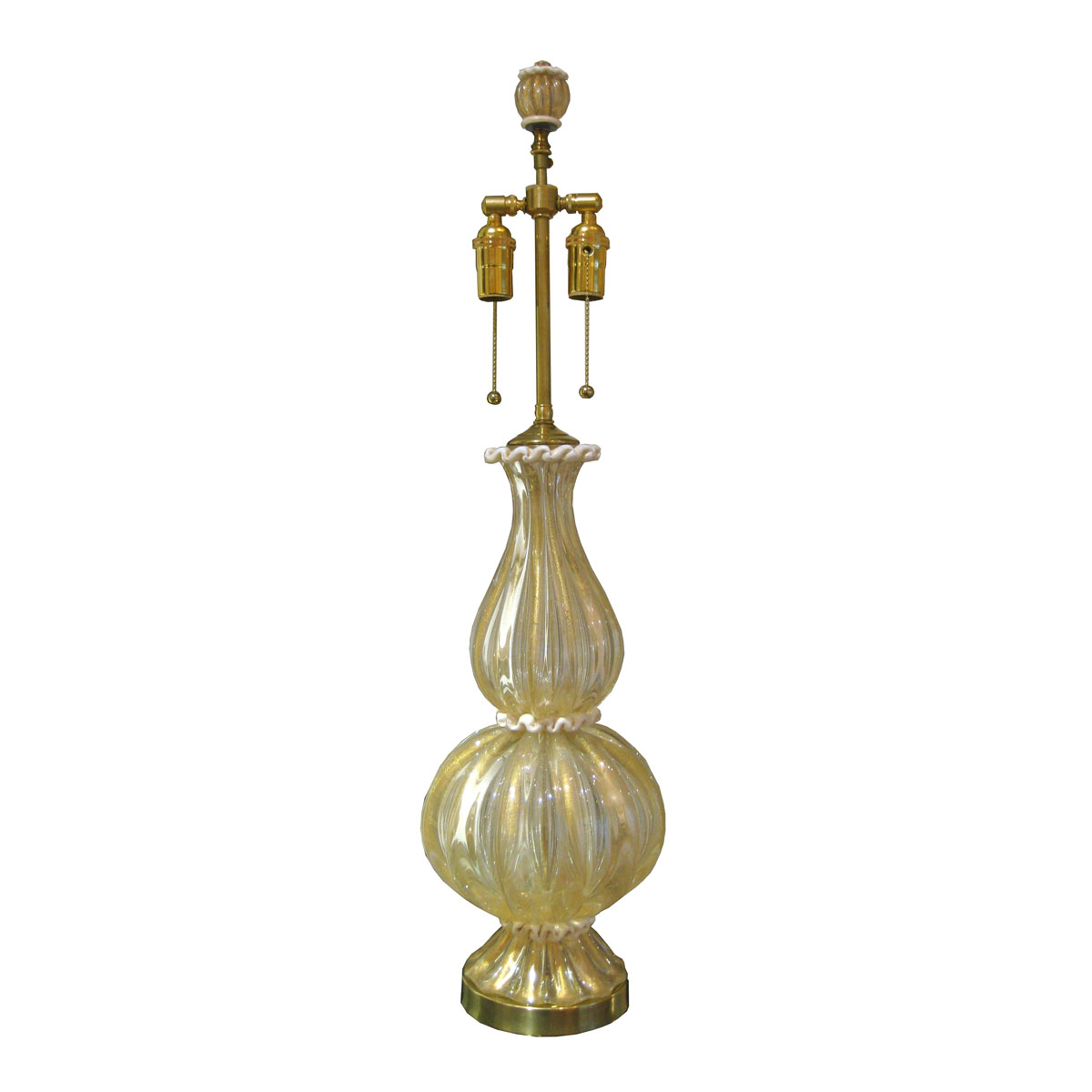 Single fluted murano glass table lamp with inclusive gold flecks and single fluted murano glass table lamp with inclusive gold flecks and air bubbles featuring a white trim single lamps john salibello aloadofball