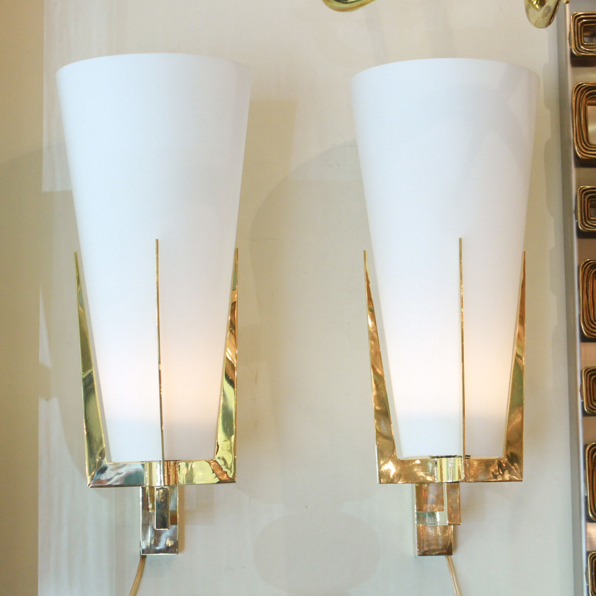 Pair Of Brass Sconces With Conical Frosted Glass Shades