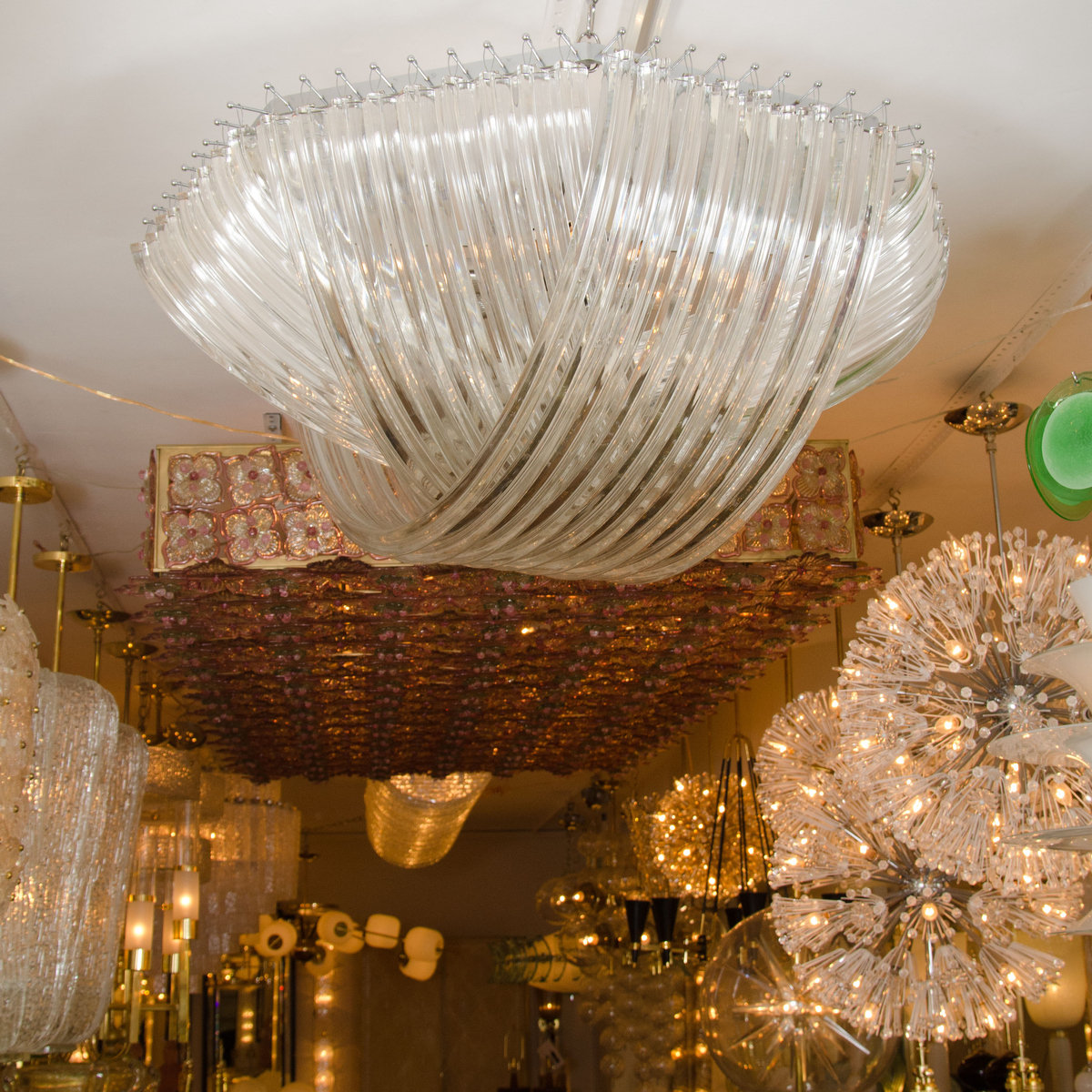 Curved Glass Rod Semi Flush Ceiling Fixture Chandeliers