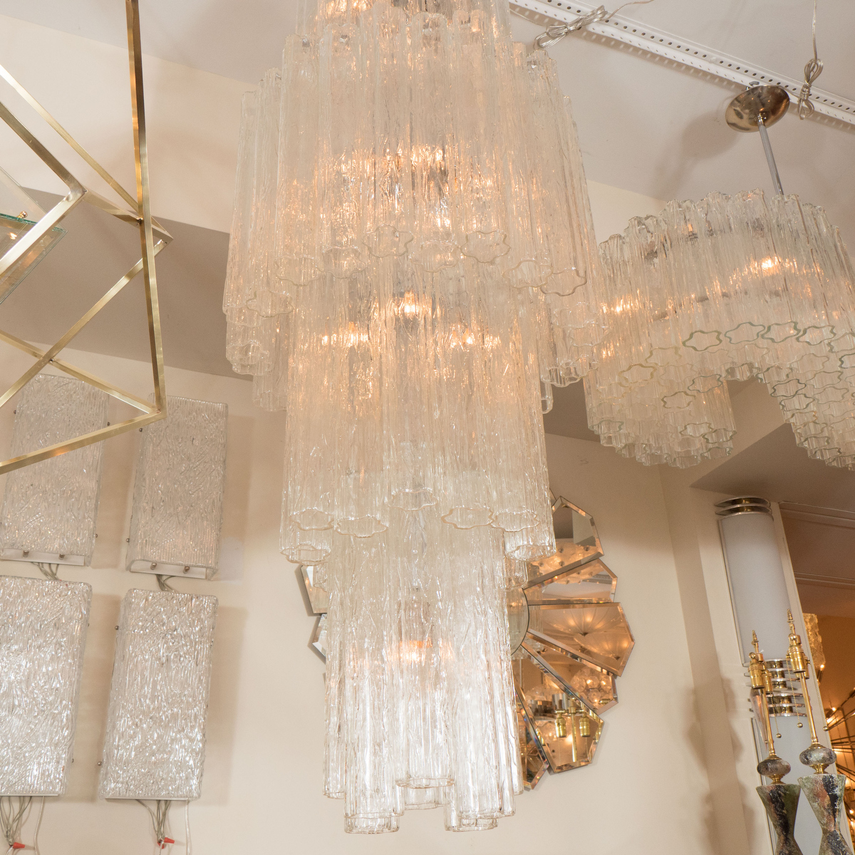 Long Vertical Wall Sconces : Long vertical multitiered chandelier with tubular elements Chandeliers & Pendants John Salibello