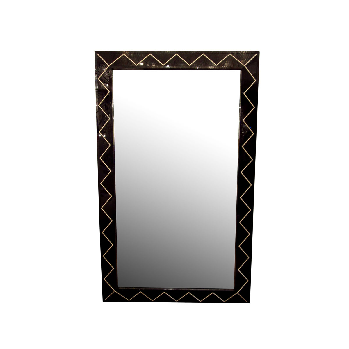 Large rectangular mirror with black glass surround - Etagere zig zag ...