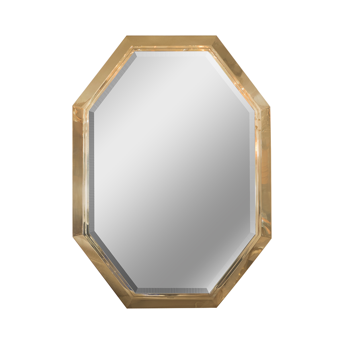 Beveled mirror with octagonal brass surround wall john for Octagon beveled mirror