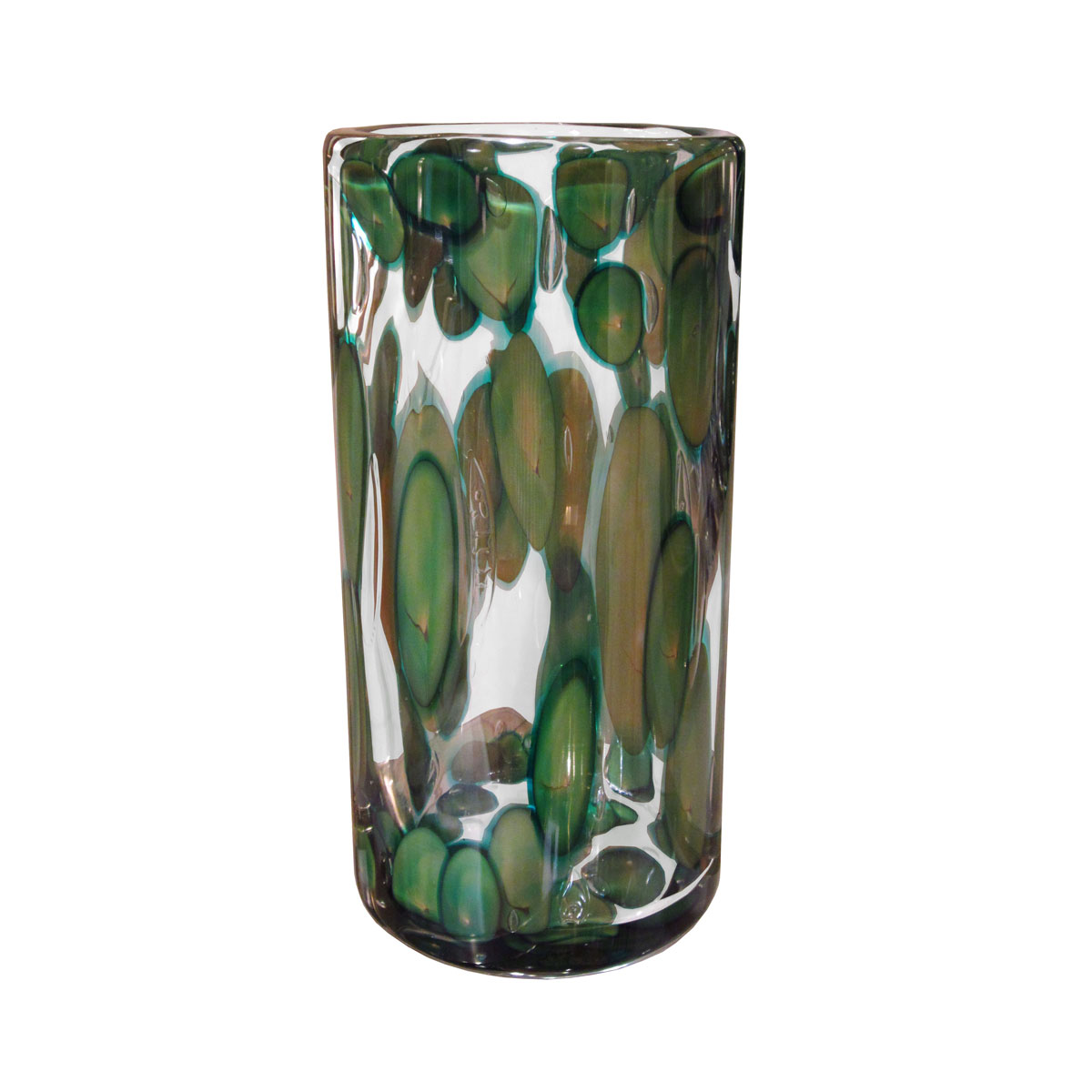 Large Cylindrical Spotted Murano Glass Vase Signed Vases John Salibello