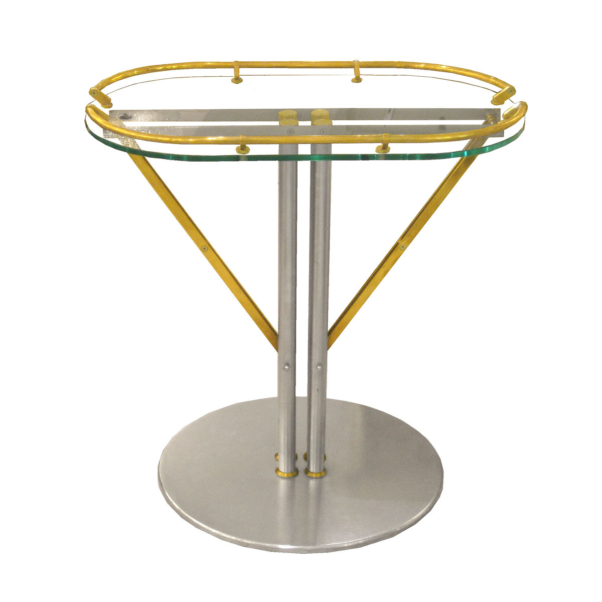 Nickel and brass pedestal base side table side end for Side table base